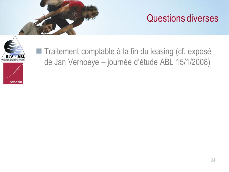34 Questions diverses Traitement comptable à la fin du leasing (cf.