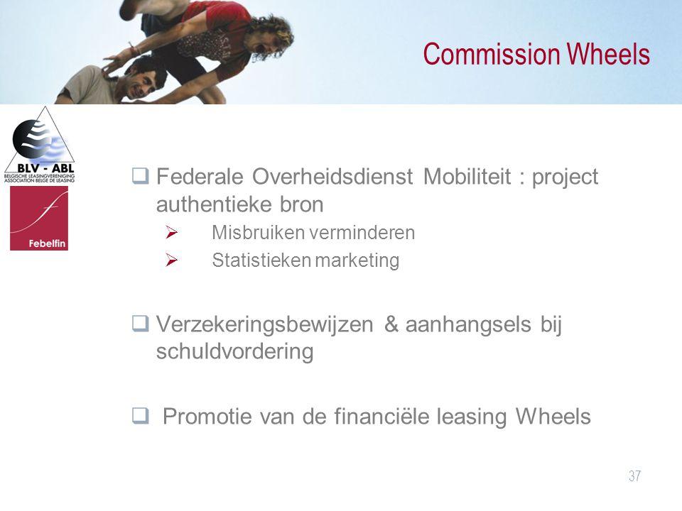 37 Commission Wheels  Federale Overheidsdienst Mobiliteit : project authentieke bron  Misbruiken verminderen  Statistieken marketing  Verzekerings