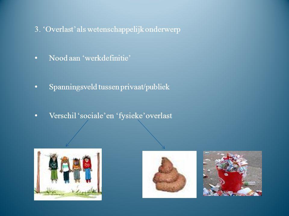 2. 'Overlast' als maatschappelijk debat Overlast: subjectief begrip Evenwicht tussen vrijheid en veiligheid 'Overlast' openbare rust, veiligheid, gezo