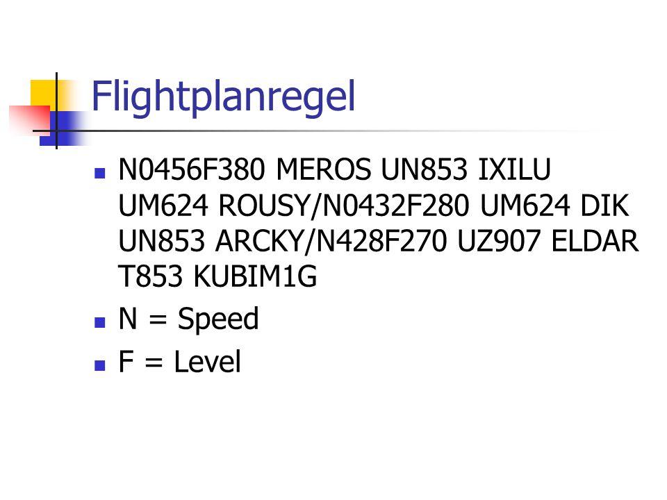 Flightplanregel N0456F380 MEROS UN853 IXILU UM624 ROUSY/N0432F280 UM624 DIK UN853 ARCKY/N428F270 UZ907 ELDAR T853 KUBIM1G N = Speed F = Level