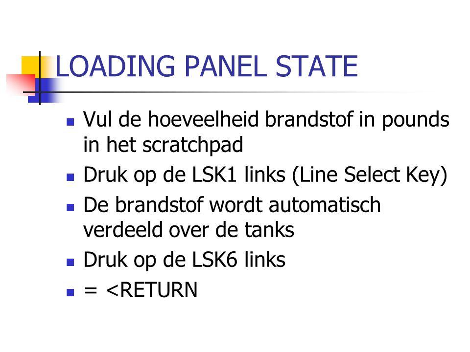 LOADING PANEL STATE Vul de hoeveelheid brandstof in pounds in het scratchpad Druk op de LSK1 links (Line Select Key) De brandstof wordt automatisch ve