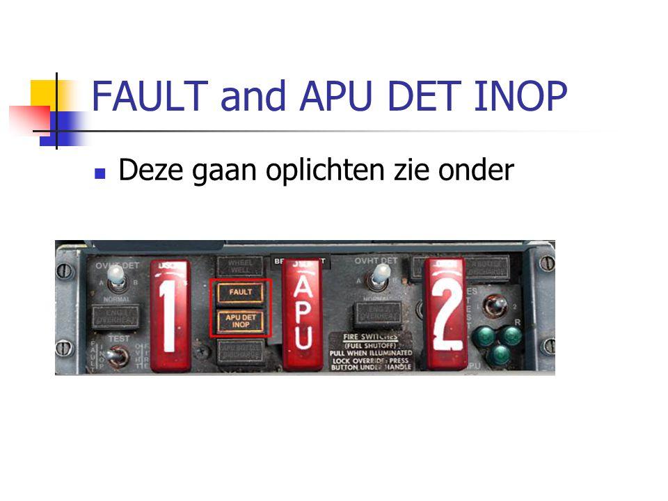 FAULT and APU DET INOP Deze gaan oplichten zie onder