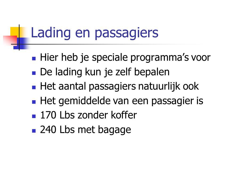 Lading en passagiers Hier heb je speciale programma's voor De lading kun je zelf bepalen Het aantal passagiers natuurlijk ook Het gemiddelde van een p