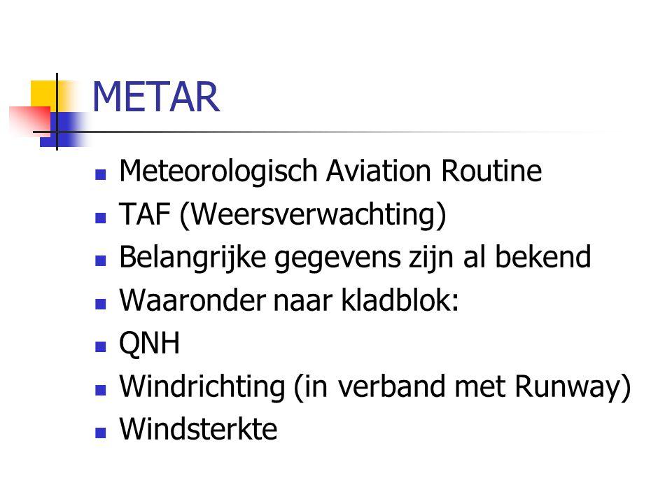 METAR Meteorologisch Aviation Routine TAF (Weersverwachting) Belangrijke gegevens zijn al bekend Waaronder naar kladblok: QNH Windrichting (in verband