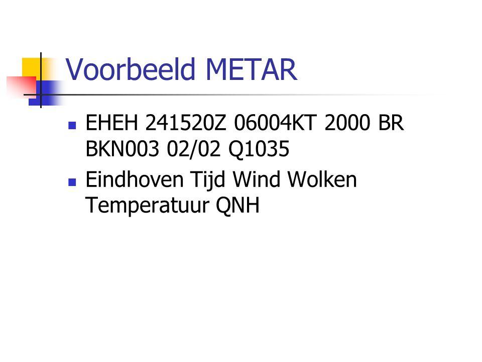 Voorbeeld METAR EHEH 241520Z 06004KT 2000 BR BKN003 02/02 Q1035 Eindhoven Tijd Wind Wolken Temperatuur QNH