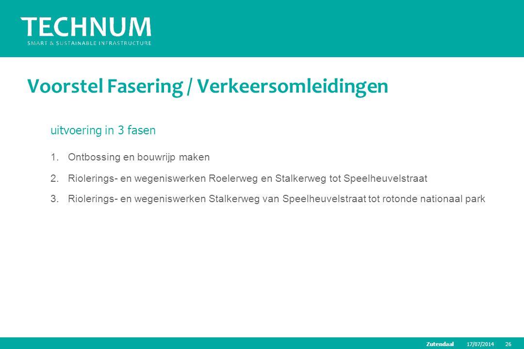 17/07/201426Zutendaal Voorstel Fasering / Verkeersomleidingen uitvoering in 3 fasen 1.Ontbossing en bouwrijp maken 2.Riolerings- en wegeniswerken Roel