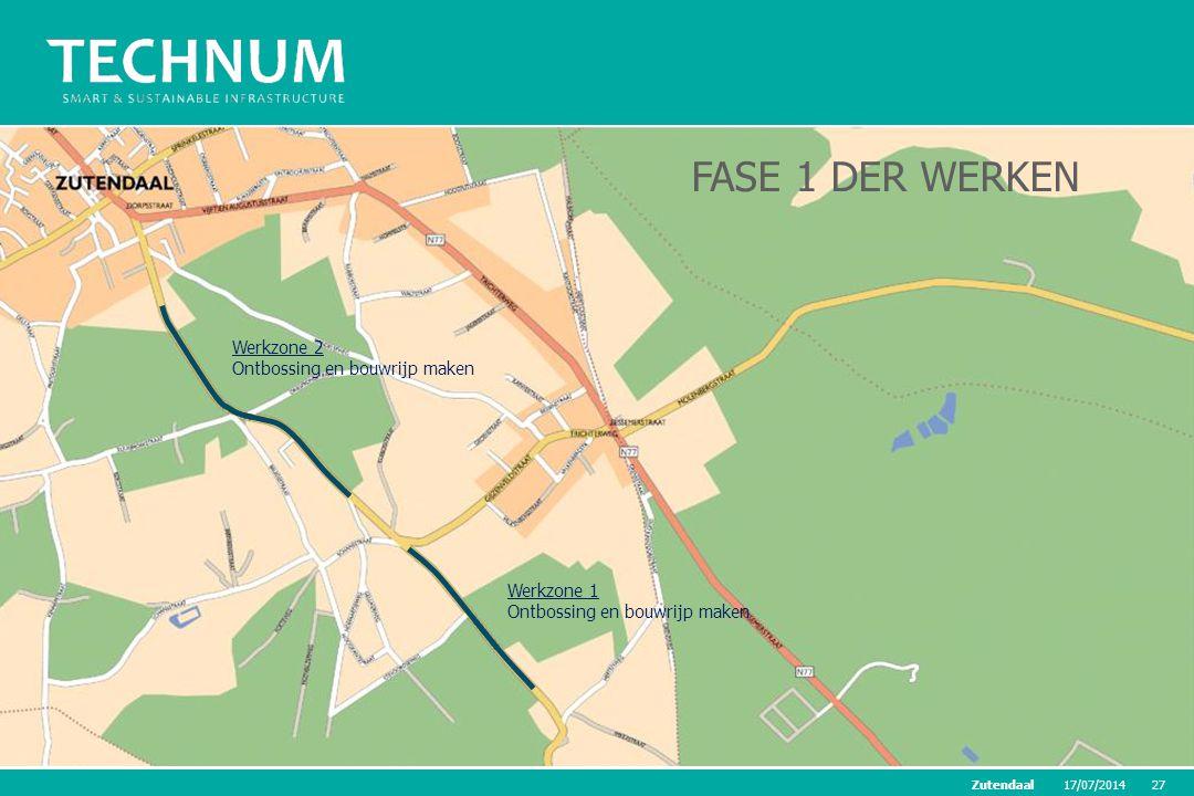 17/07/201427Zutendaal Werkzone 1 Ontbossing en bouwrijp maken Werkzone 2 Ontbossing en bouwrijp maken FASE 1 DER WERKEN