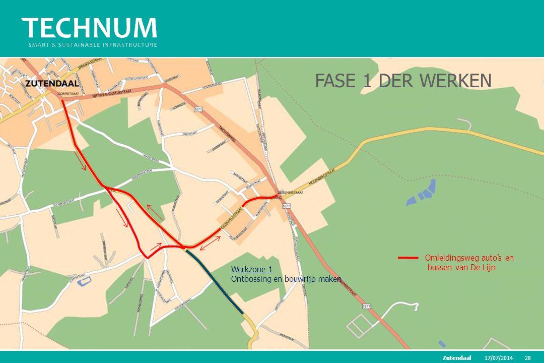 17/07/201428Zutendaal Werkzone 1 Ontbossing en bouwrijp maken FASE 1 DER WERKEN Omleidingsweg auto's en bussen van De Lijn