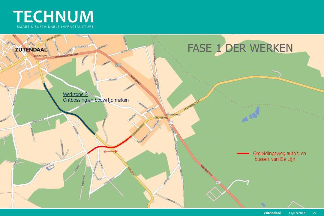 17/07/201429Zutendaal Werkzone 2 Ontbossing en bouwrijp maken FASE 1 DER WERKEN Omleidingsweg auto's en bussen van De Lijn