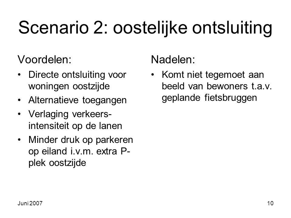 Juni 200710 Scenario 2: oostelijke ontsluiting Voordelen: Directe ontsluiting voor woningen oostzijde Alternatieve toegangen Verlaging verkeers- intensiteit op de lanen Minder druk op parkeren op eiland i.v.m.