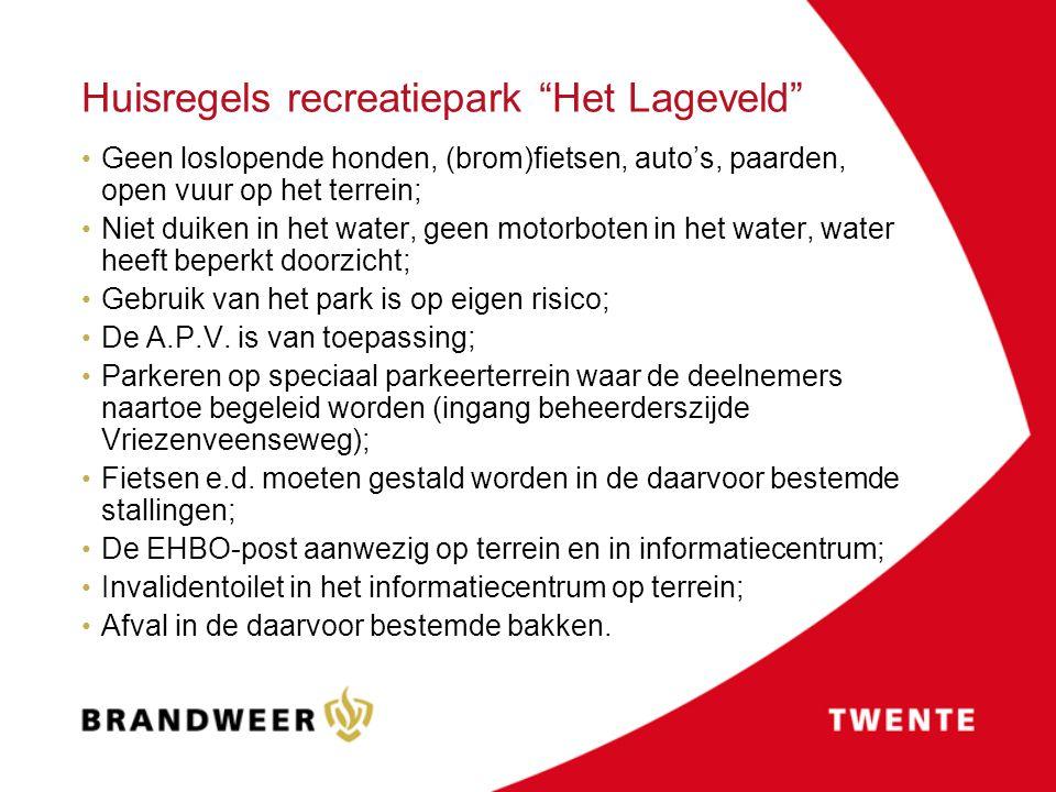"""Huisregels recreatiepark """"Het Lageveld"""" Geen loslopende honden, (brom)fietsen, auto's, paarden, open vuur op het terrein; Niet duiken in het water, ge"""