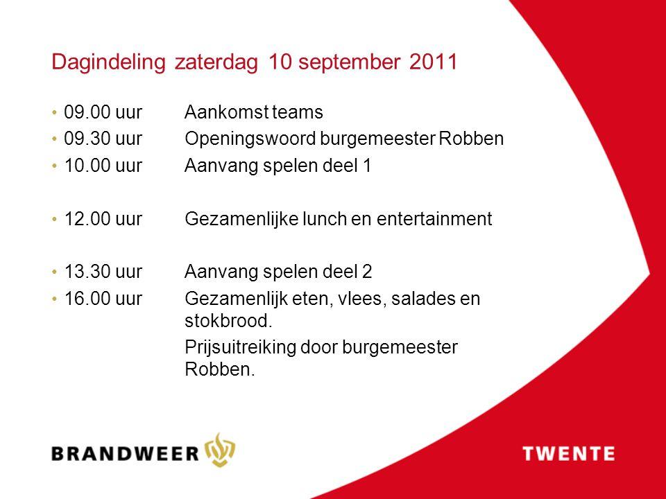 Dagindeling zaterdag 10 september 2011 09.00 uur Aankomst teams 09.30 uurOpeningswoord burgemeester Robben 10.00 uurAanvang spelen deel 1 12.00 uur Ge