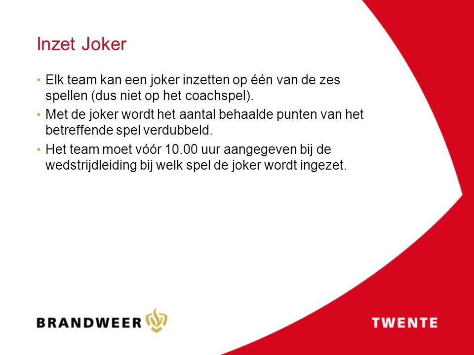 Inzet Joker Elk team kan een joker inzetten op één van de zes spellen (dus niet op het coachspel). Met de joker wordt het aantal behaalde punten van h