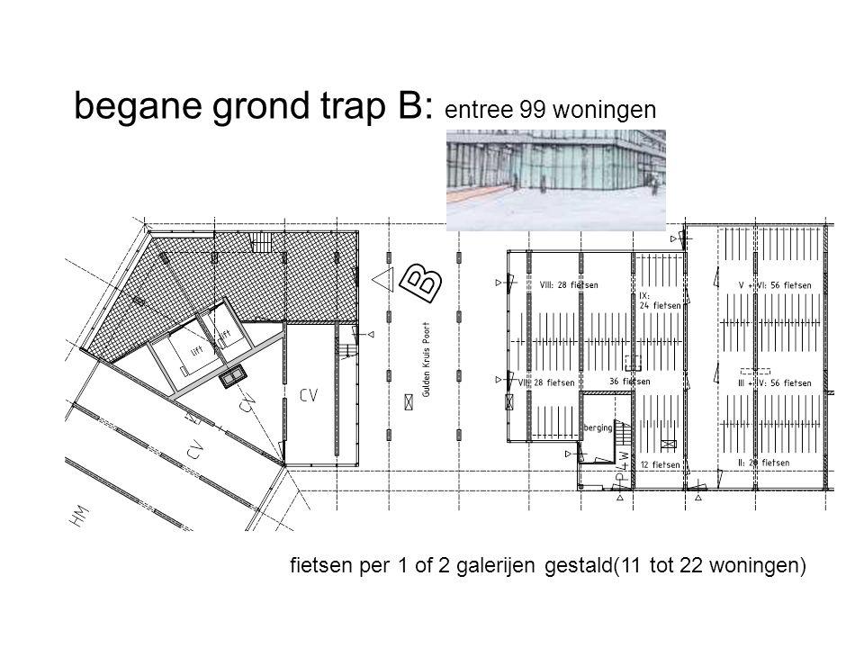 begane grond trap B: entree 99 woningen fietsen per 1 of 2 galerijen gestald(11 tot 22 woningen)