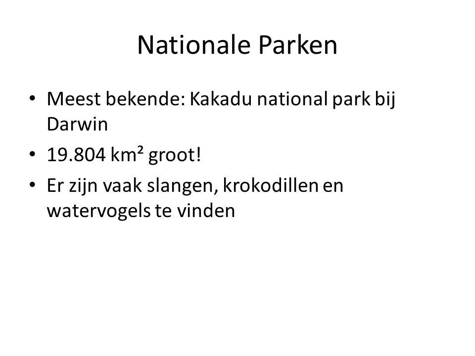 Nationale Parken Meest bekende: Kakadu national park bij Darwin 19.804 km² groot! Er zijn vaak slangen, krokodillen en watervogels te vinden