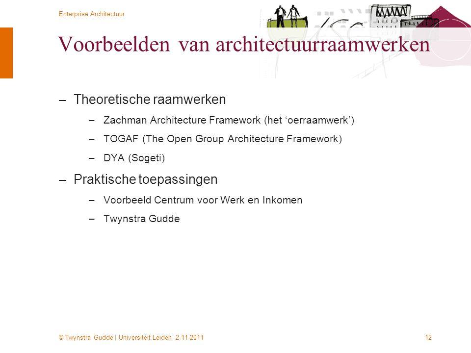 © Twynstra Gudde   Universiteit Leiden 2-11-2011 Enterprise Architectuur 12 Voorbeelden van architectuurraamwerken –Theoretische raamwerken –Zachman A