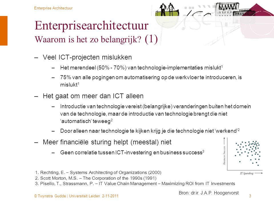 © Twynstra Gudde | Universiteit Leiden 2-11-2011 Enterprise Architectuur 14 Some quotes...