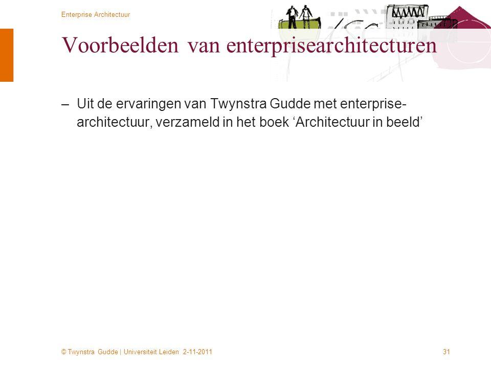 © Twynstra Gudde   Universiteit Leiden 2-11-2011 Enterprise Architectuur 31 Voorbeelden van enterprisearchitecturen –Uit de ervaringen van Twynstra Gu