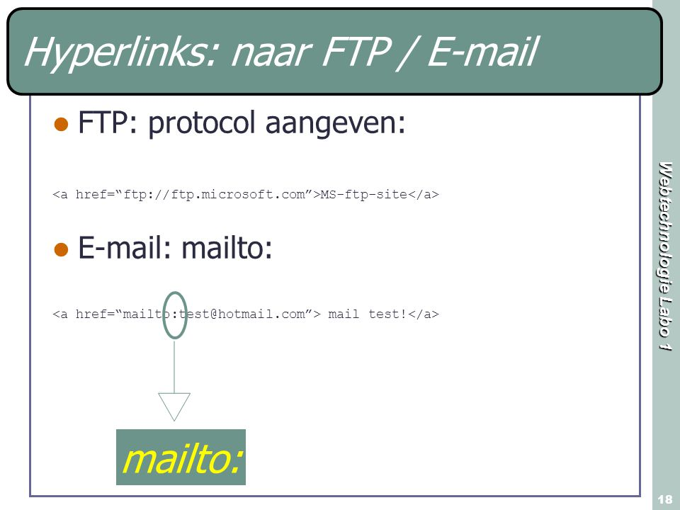 Webtechnologie Labo 1 18 FTP: protocol aangeven: MS-ftp-site E-mail: mailto: mail test! mailto: Hyperlinks: naar FTP / E-mail