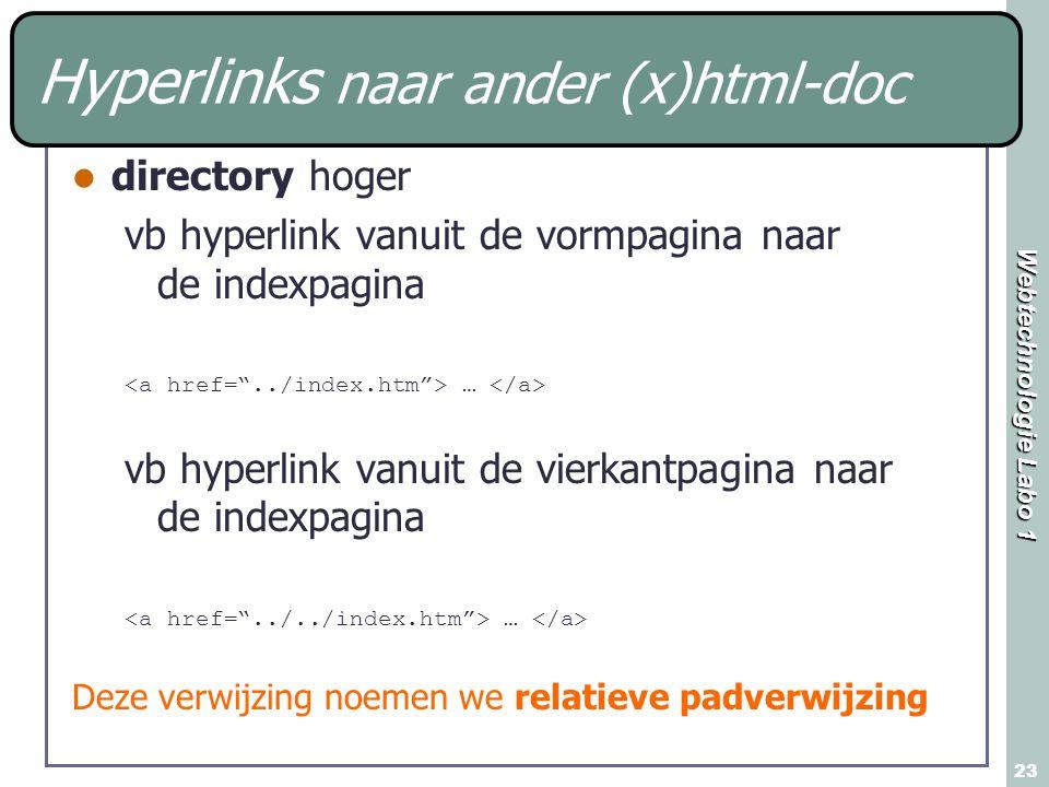 Webtechnologie Labo 1 23 Hyperlinks naar ander (x)html-doc directory hoger vb hyperlink vanuit de vormpagina naar de indexpagina … vb hyperlink vanuit de vierkantpagina naar de indexpagina … Deze verwijzing noemen we relatieve padverwijzing
