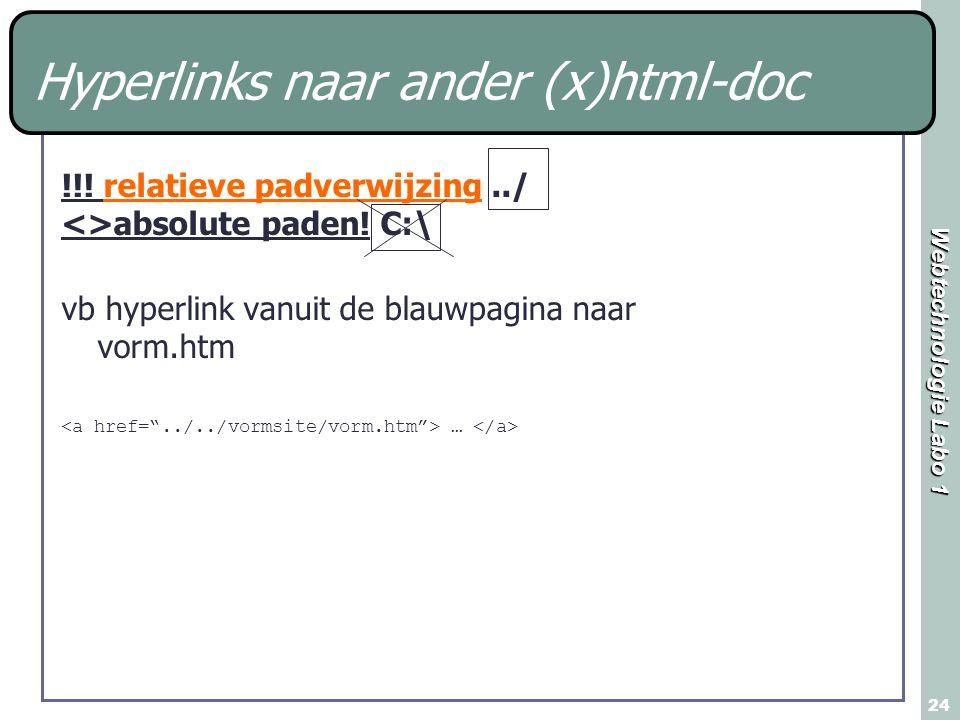 Webtechnologie Labo 1 24 Hyperlinks naar ander (x)html-doc !!! relatieve padverwijzing../ <>absolute paden! C:\ vb hyperlink vanuit de blauwpagina naa