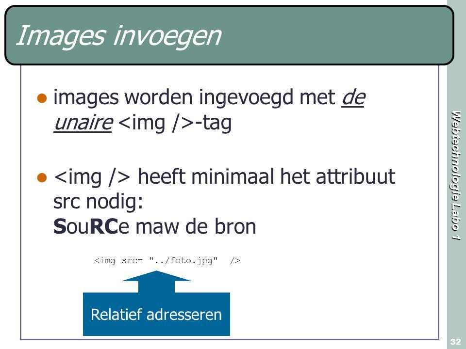 Webtechnologie Labo 1 32 Images invoegen images worden ingevoegd met de unaire -tag heeft minimaal het attribuut src nodig: SouRCe maw de bron Relatief adresseren