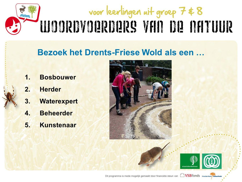 Bezoek het Drents-Friese Wold als een … 1.Bosbouwer 2.Herder 3.Waterexpert 4.Beheerder 5.Kunstenaar