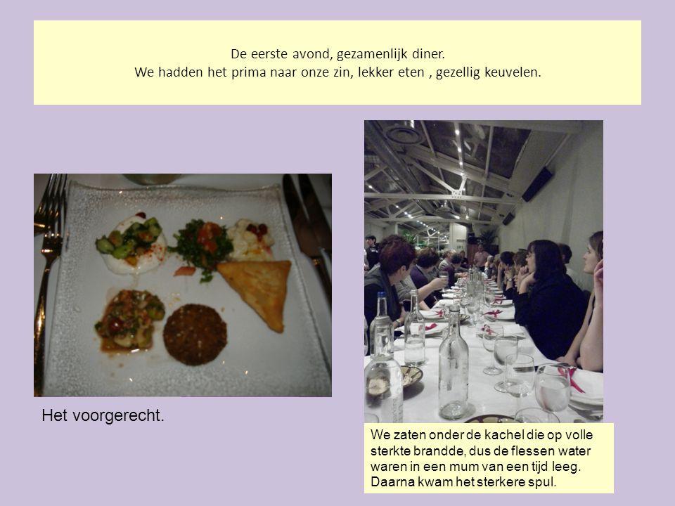 De eerste avond, gezamenlijk diner. We hadden het prima naar onze zin, lekker eten, gezellig keuvelen. Het voorgerecht. We zaten onder de kachel die o
