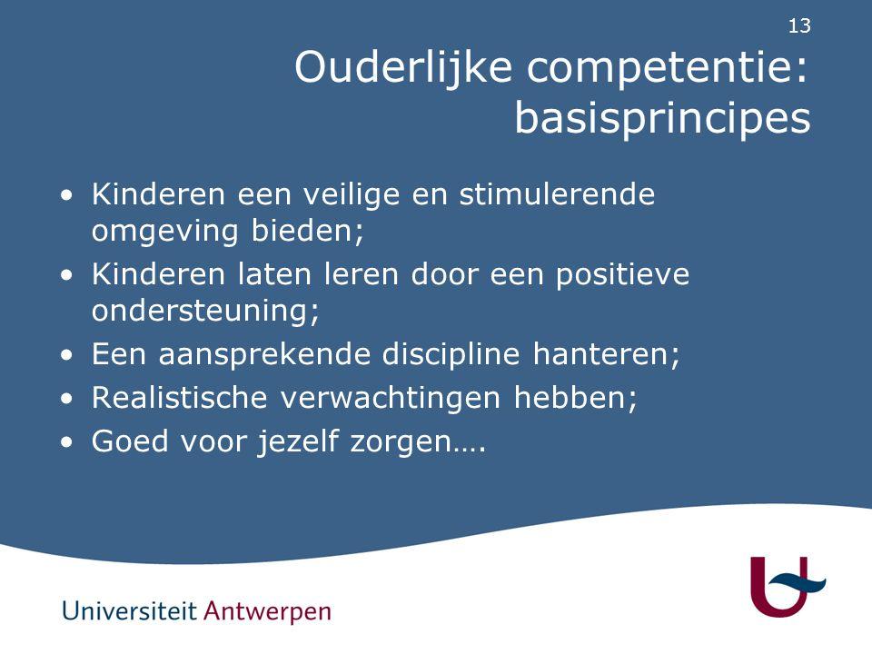 13 Ouderlijke competentie: basisprincipes Kinderen een veilige en stimulerende omgeving bieden; Kinderen laten leren door een positieve ondersteuning;