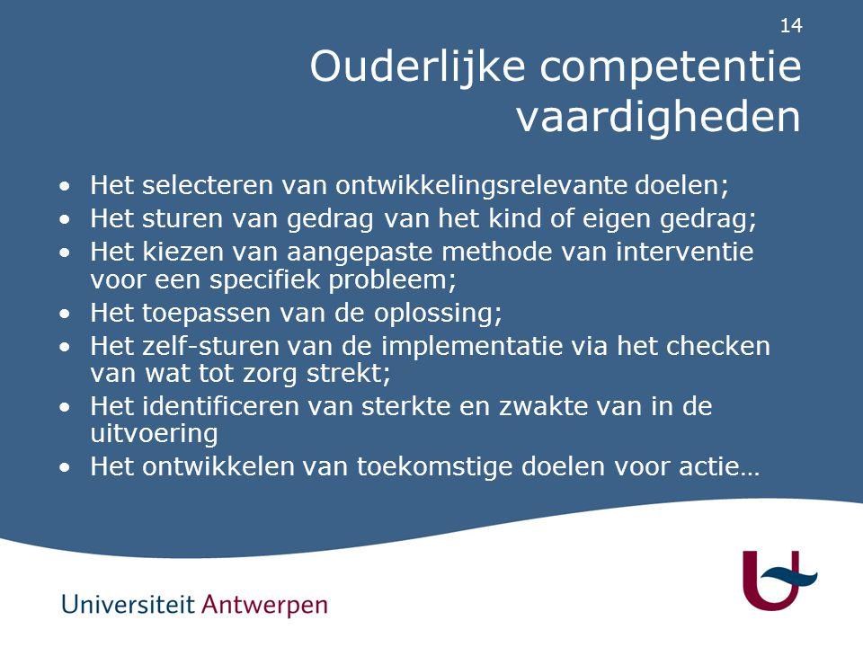 14 Ouderlijke competentie vaardigheden Het selecteren van ontwikkelingsrelevante doelen; Het sturen van gedrag van het kind of eigen gedrag; Het kieze
