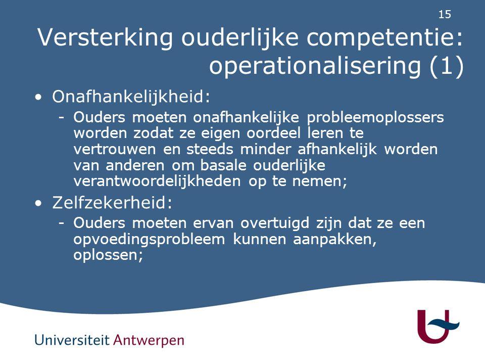 15 Versterking ouderlijke competentie: operationalisering (1) Onafhankelijkheid: -Ouders moeten onafhankelijke probleemoplossers worden zodat ze eigen