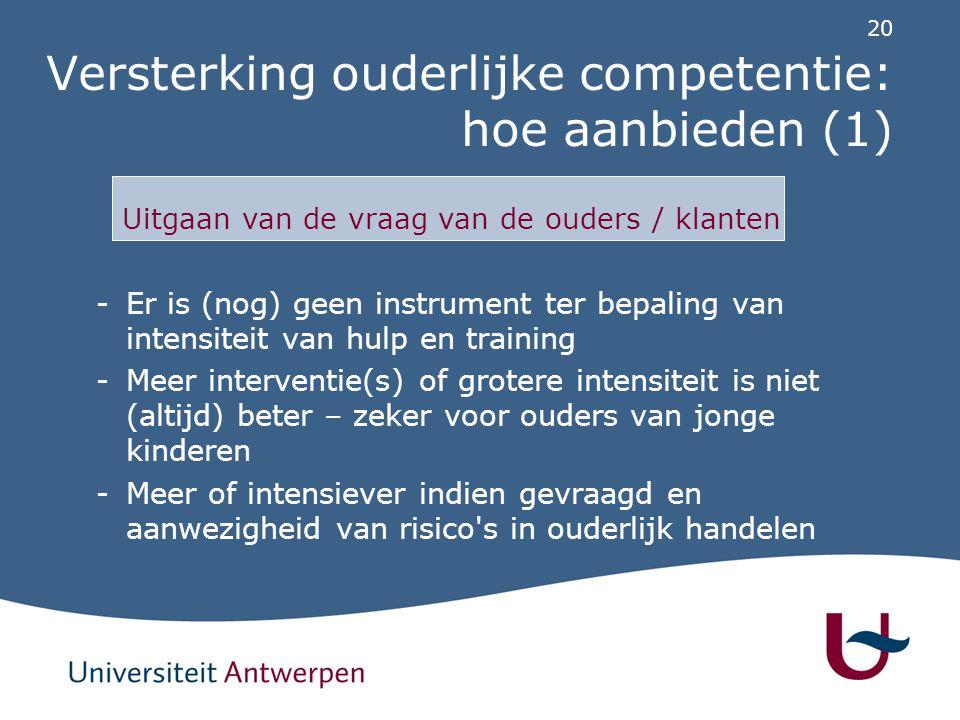 20 Versterking ouderlijke competentie: hoe aanbieden (1) -Er is (nog) geen instrument ter bepaling van intensiteit van hulp en training -Meer interven