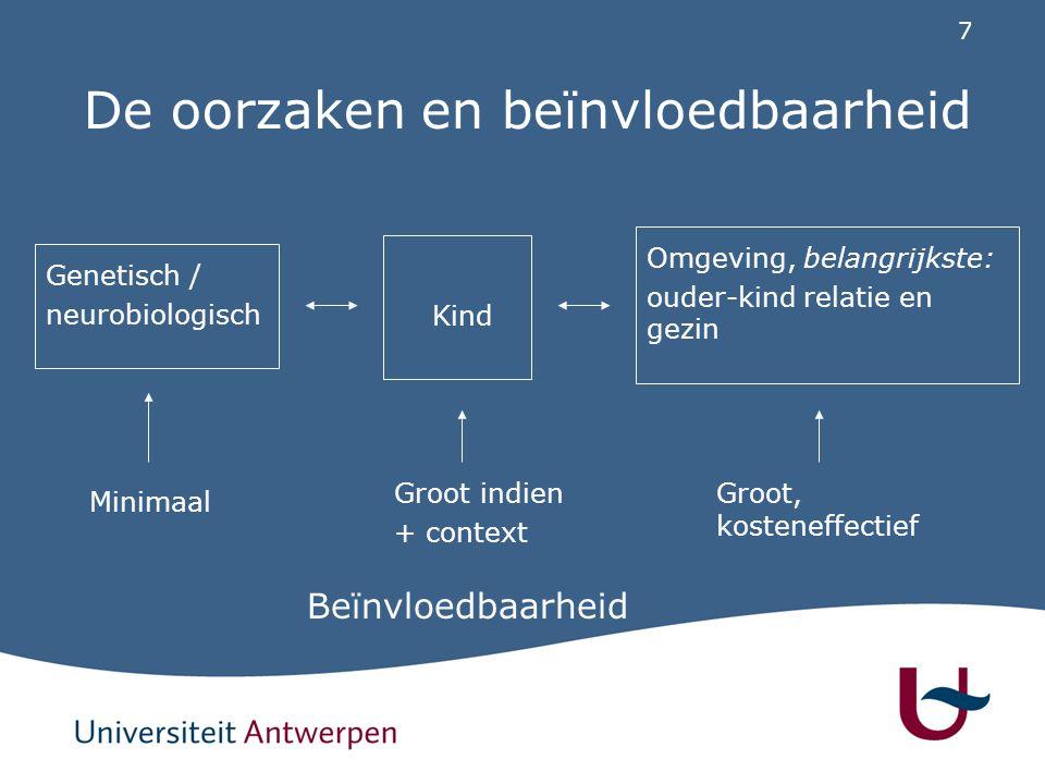 7 De oorzaken en beïnvloedbaarheid Genetisch / neurobiologisch Omgeving, belangrijkste: ouder-kind relatie en gezin Beïnvloedbaarheid Kind Minimaal Gr