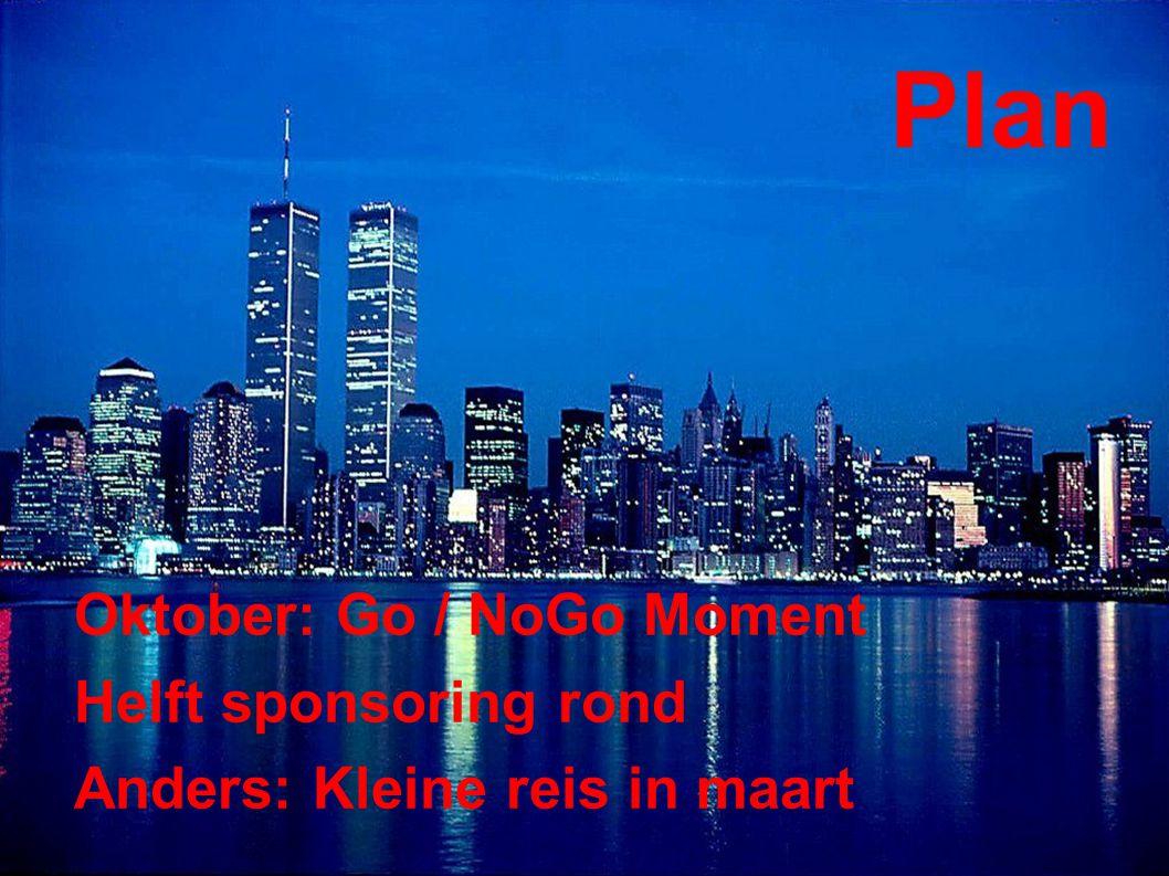 Plan Oktober: Go / NoGo Moment Helft sponsoring rond Anders: Kleine reis in maart