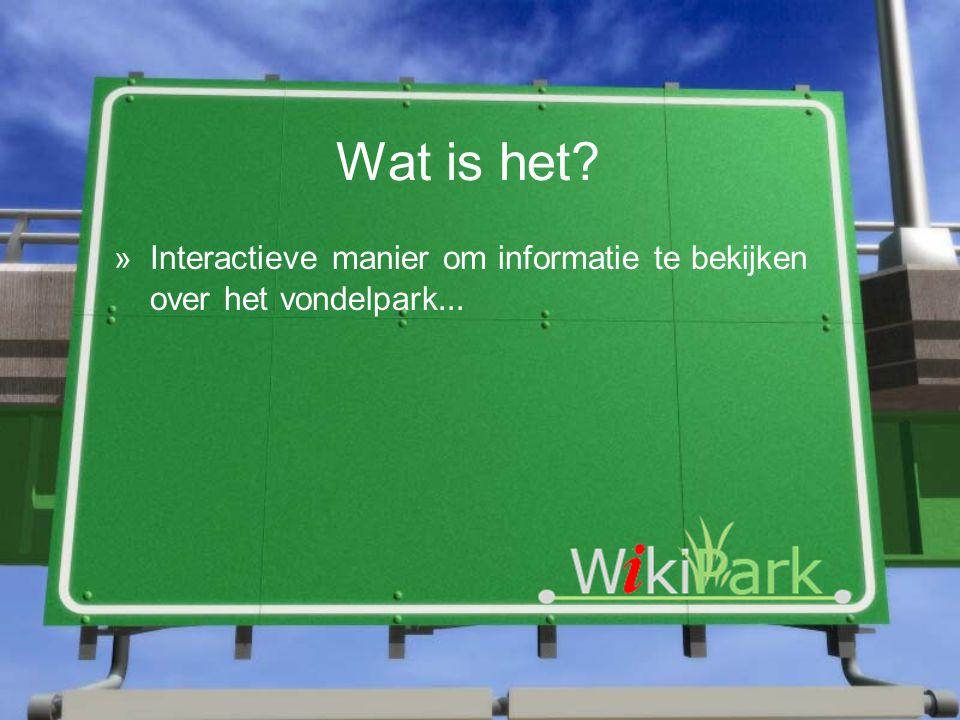 Wat is het »Interactieve manier om informatie te bekijken over het vondelpark …