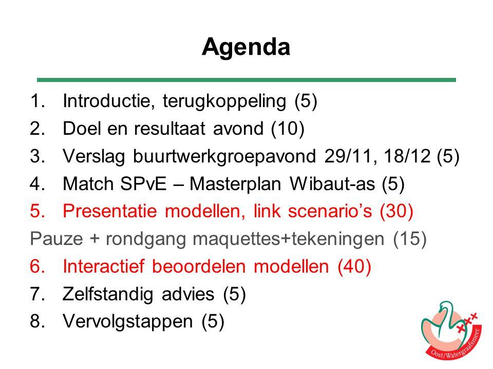 Agenda 1.Introductie, terugkoppeling (5) 2.Doel en resultaat avond (10) 3.Verslag buurtwerkgroepavond 29/11, 18/12 (5) 4.Match SPvE – Masterplan Wibau