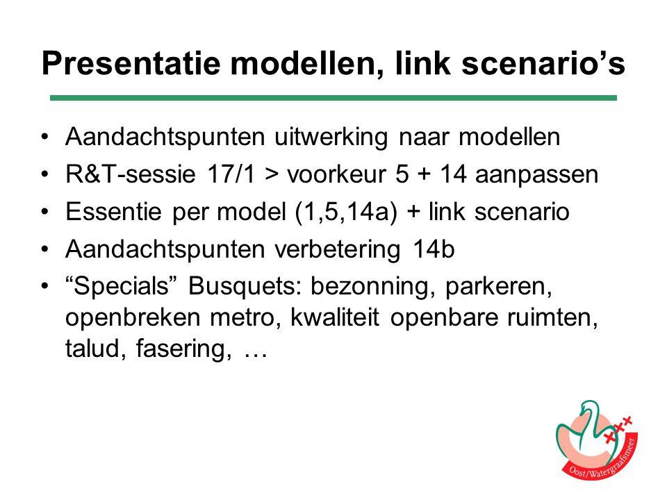 Presentatie modellen, link scenario's Aandachtspunten uitwerking naar modellen R&T-sessie 17/1 > voorkeur 5 + 14 aanpassen Essentie per model (1,5,14a