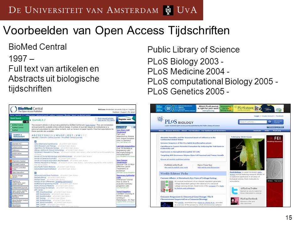 15 Voorbeelden van Open Access Tijdschriften BioMed Central 1997 – Full text van artikelen en Abstracts uit biologische tijdschriften Public Library o