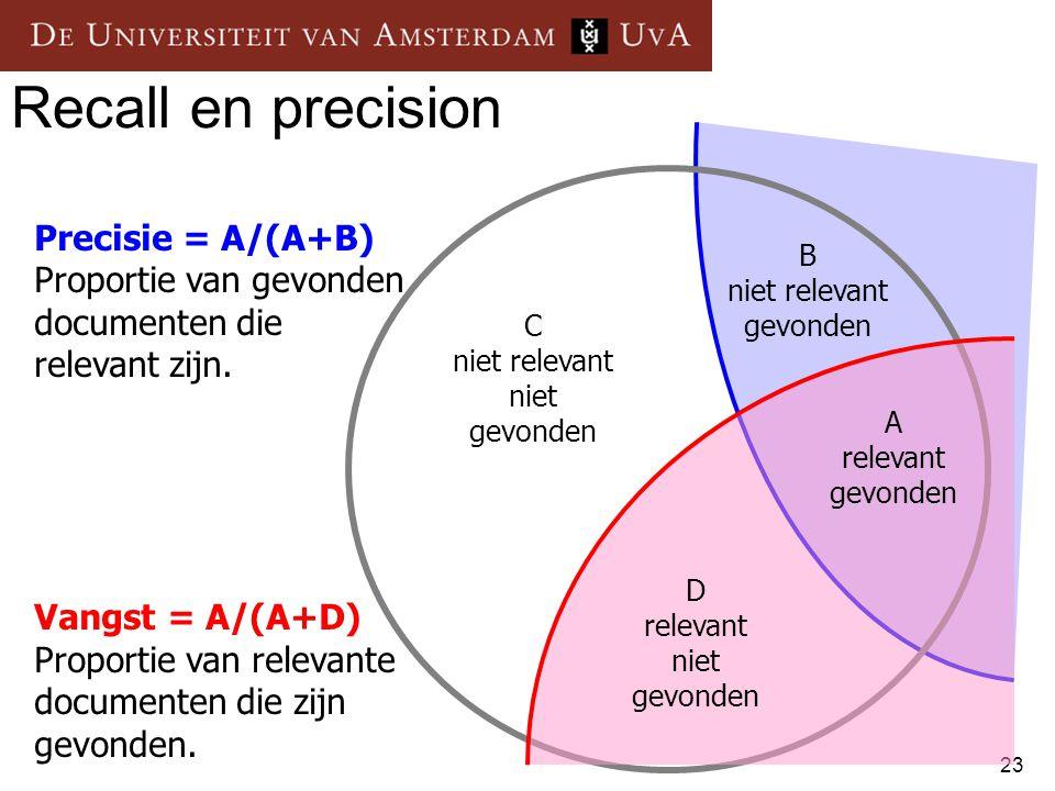 23 Recall en precision B niet relevant gevonden A relevant gevonden D relevant niet gevonden C niet relevant niet gevonden Precisie = A/(A+B) Proporti