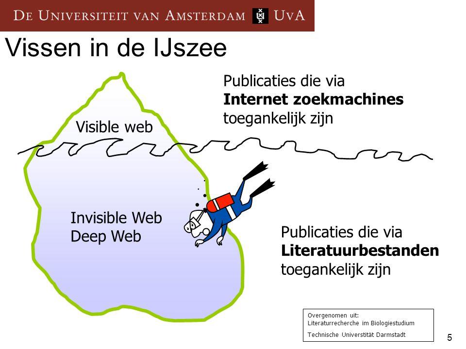 5 Vissen in de IJszee Visible web Invisible Web Deep Web Publicaties die via Internet zoekmachines toegankelijk zijn Publicaties die via Literatuurbes