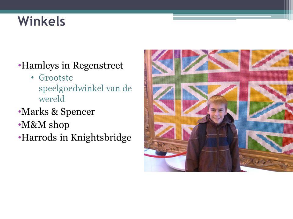 Winkels Hamleys in Regenstreet Grootste speelgoedwinkel van de wereld Marks & Spencer M&M shop Harrods in Knightsbridge