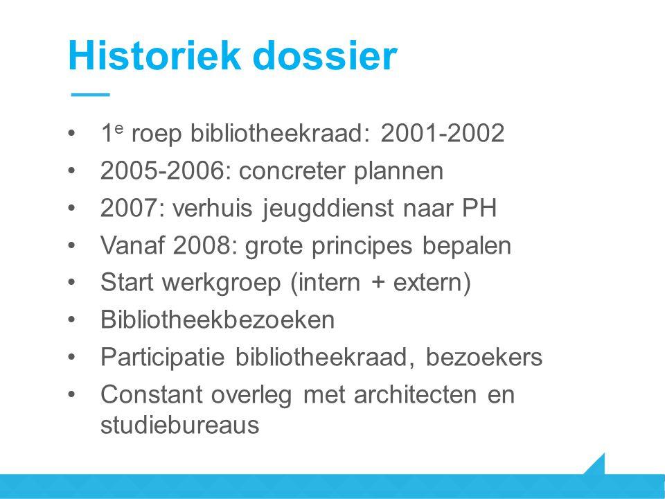 Historiek dossier 1 e roep bibliotheekraad: 2001-2002 2005-2006: concreter plannen 2007: verhuis jeugddienst naar PH Vanaf 2008: grote principes bepal