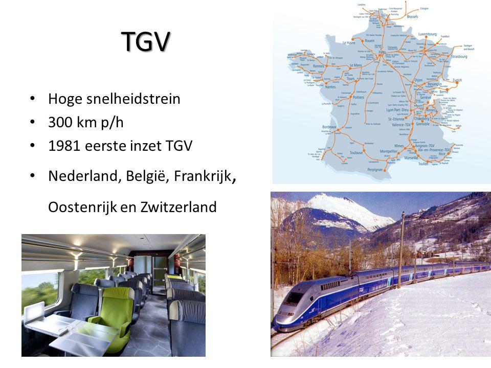 TGV Hoge snelheidstrein 300 km p/h 1981 eerste inzet TGV Nederland, België, Frankrijk, Oostenrijk en Zwitzerland