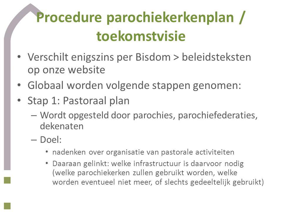 Procedure parochiekerkenplan / toekomstvisie Verschilt enigszins per Bisdom > beleidsteksten op onze website Globaal worden volgende stappen genomen: