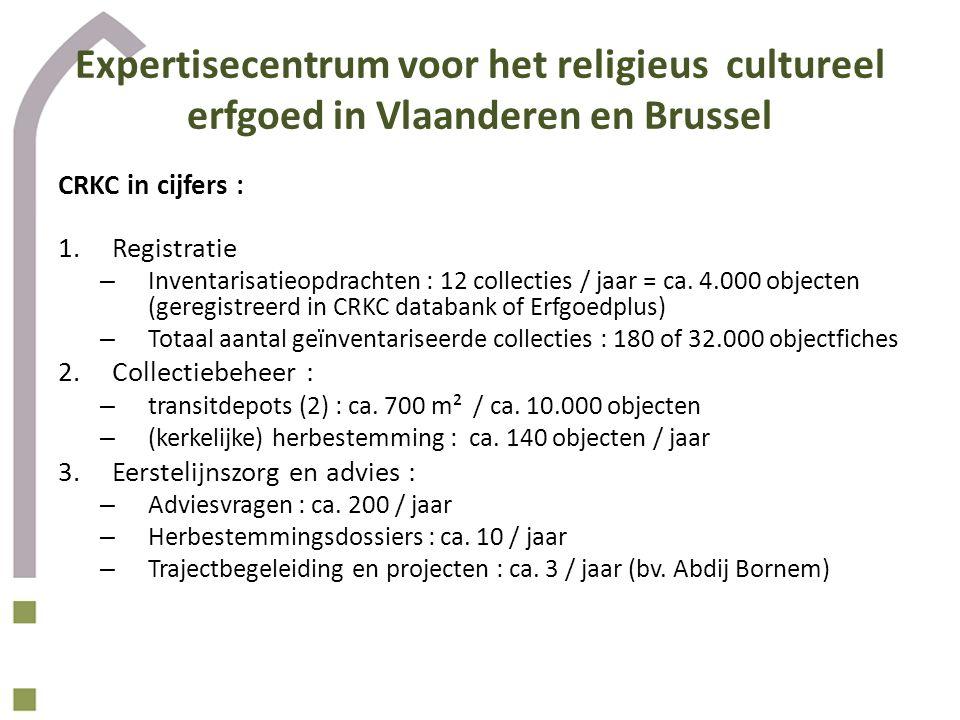 Expertisecentrum voor het religieus cultureel erfgoed in Vlaanderen en Brussel CRKC in cijfers : 1.Registratie – Inventarisatieopdrachten : 12 collecties / jaar = ca.