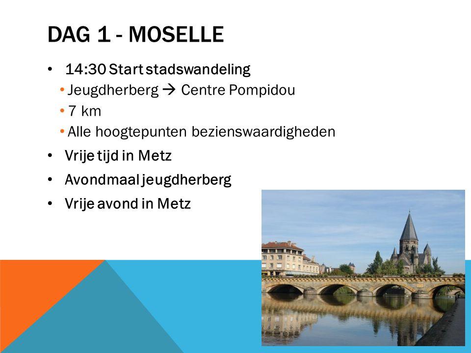 DAG 1 - MOSELLE 14:30 Start stadswandeling Jeugdherberg  Centre Pompidou 7 km Alle hoogtepunten bezienswaardigheden Vrije tijd in Metz Avondmaal jeugdherberg Vrije avond in Metz