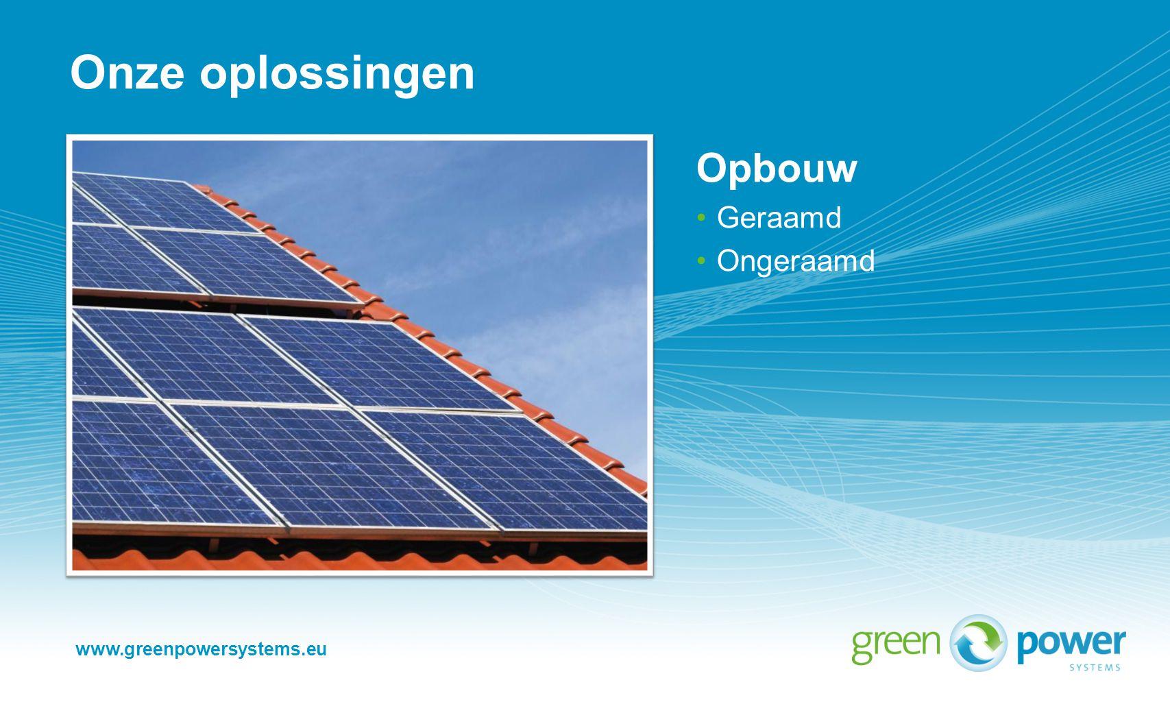 www.greenpowersystems.eu Onze oplossingen Gebouw geïntegreerd (BIPV) Geraamd Ongeraamd Dakbedekking geïntegreerd