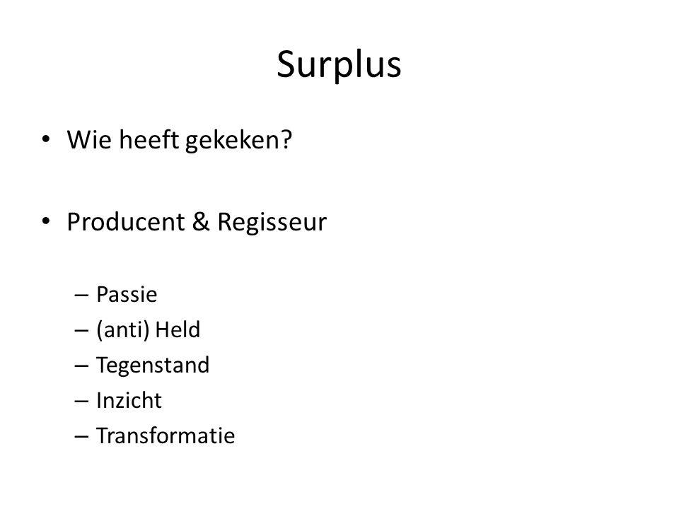 Surplus Wie heeft gekeken? Producent & Regisseur – Passie – (anti) Held – Tegenstand – Inzicht – Transformatie