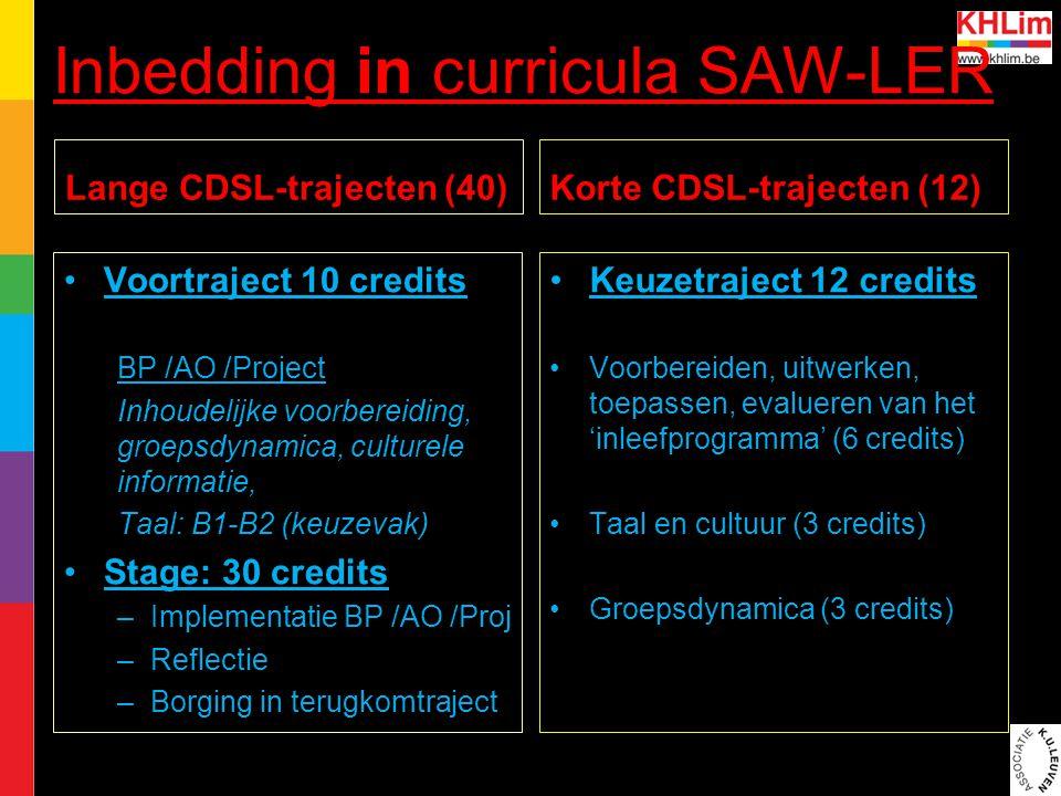 Inbedding in curricula SAW-LER Lange CDSL-trajecten (40) Voortraject 10 credits BP /AO /Project Inhoudelijke voorbereiding, groepsdynamica, culturele informatie, Taal: B1-B2 (keuzevak) Stage: 30 credits –Implementatie BP /AO /Proj –Reflectie –Borging in terugkomtraject voortraject Korte CDSL-trajecten (12) Keuzetraject 12 credits Voorbereiden, uitwerken, toepassen, evalueren van het 'inleefprogramma' (6 credits) Taal en cultuur (3 credits) Groepsdynamica (3 credits) keuzetraject