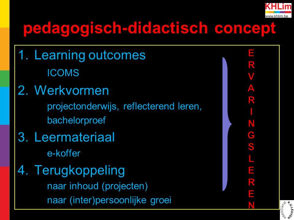 pedagogisch-didactisch concept 1.Learning outcomes ICOMS 2.Werkvormen projectonderwijs, reflecterend leren, bachelorproef 3.Leermateriaal e-koffer 4.Terugkoppeling naar inhoud (projecten) naar (inter)persoonlijke groei